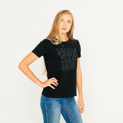 Koszulka damska Warszawa czarna
