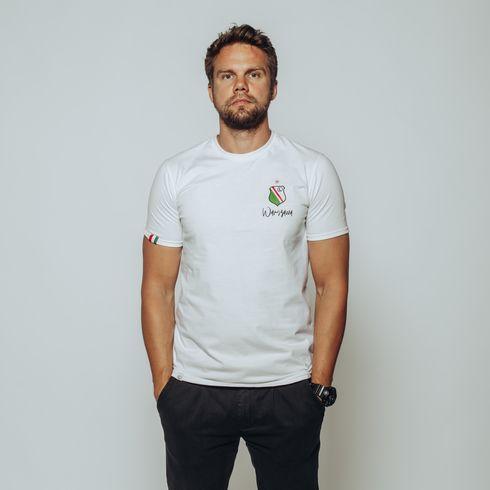 Biała koszulka herb Warszawa