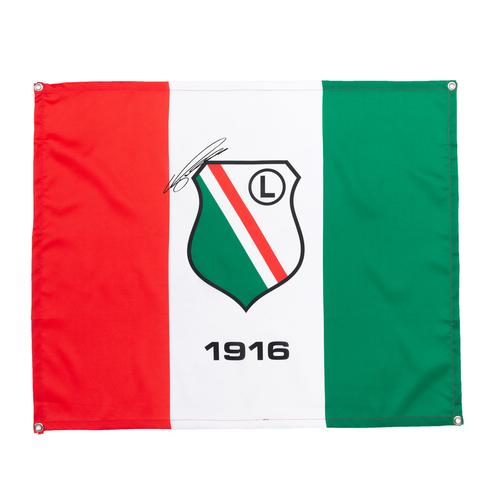 Flaga Legia Warszawa z autografem Bartosza Kapustki