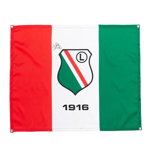 Flaga Legia Warszawa z autografem Luquinhasa