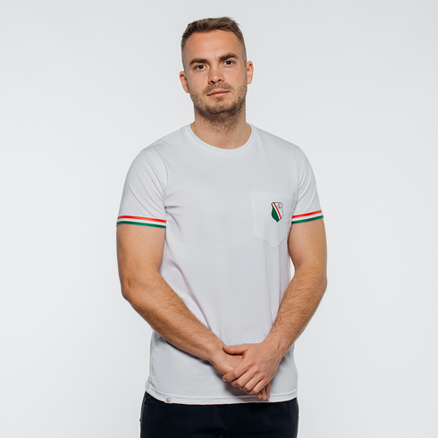 Biała koszulka herb z kieszonką