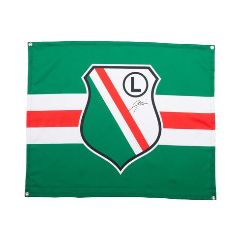 Flaga Legia Warszawa z autografem Artura Boruca
