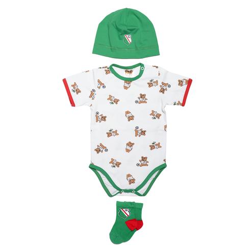 Zestaw niemowlęcy body, czepeczka i skarpetki